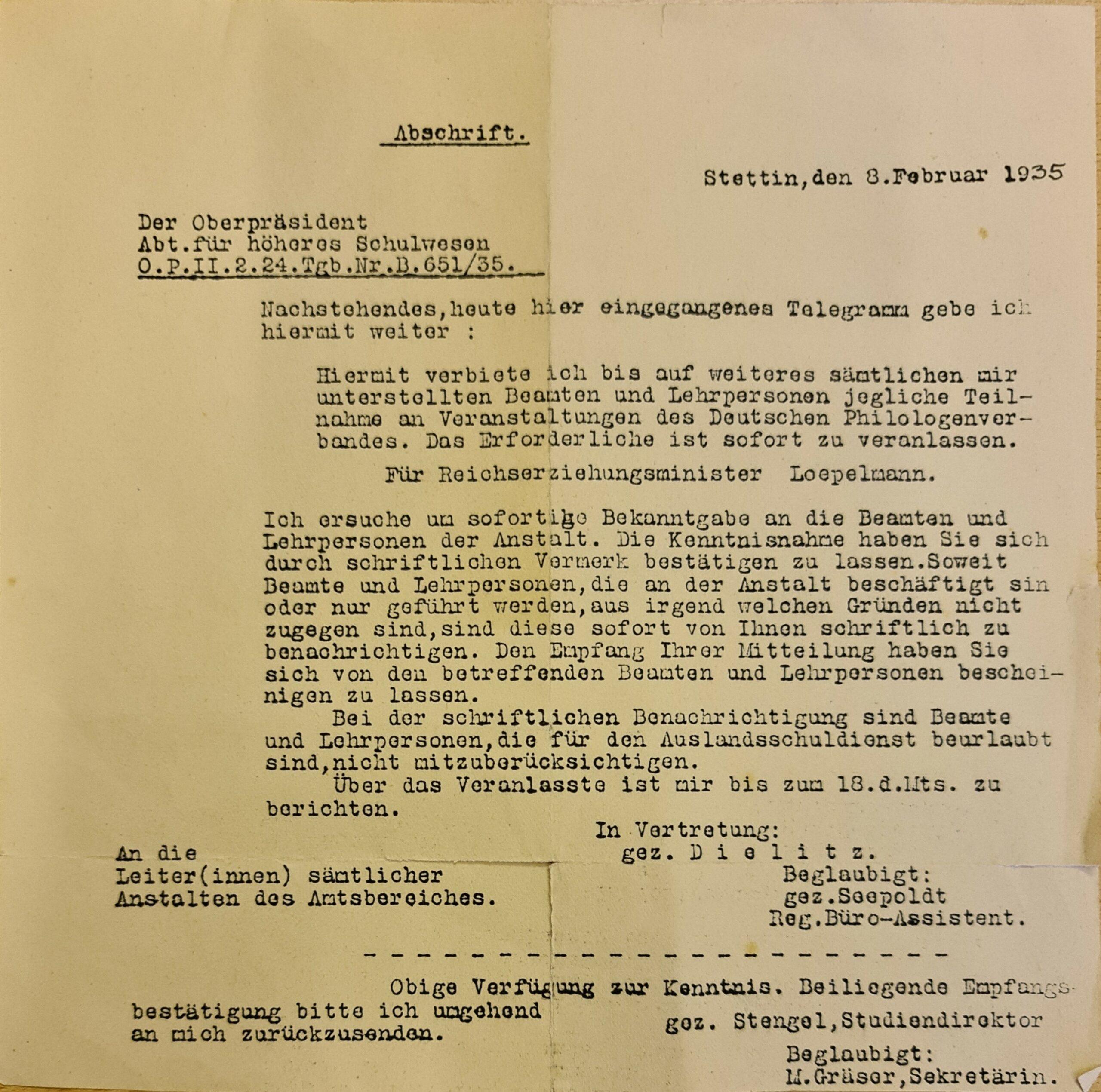Stettin 1935: Verbot des DPhV